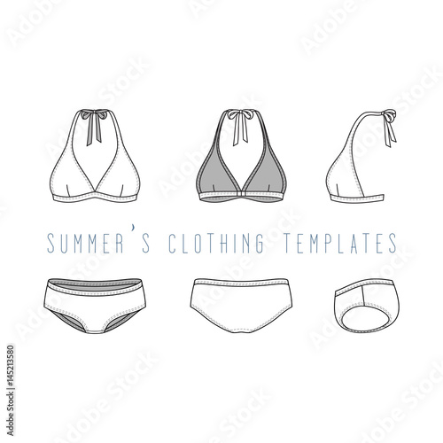 Vector Illustration Of Female Beach Clothing Set Blank Vector Templates Of Swimwear In Front Back Side Views Fashion Design In Hipsters Style Isolated On White Background Buy This Stock Vector And