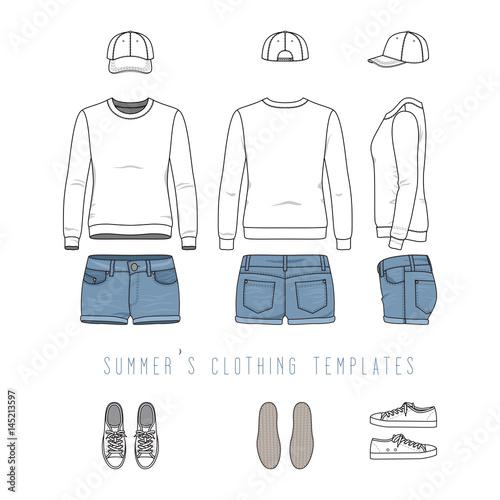 Vector Illustration Of Female Clothing Set White Sweatshirt Denim Shorts Baseball Cap