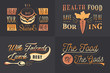 Set of Vintage Food Typographic Quotes