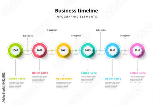 Obraz Business timeline in step circles infographics. Corporate milestones graphic elements. Company presentation slide template with year periods. Modern vector history time line layout design. - fototapety do salonu