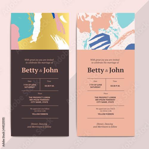 Trendy Abstract Wedding Invitation Cards Templates Modern Luxury