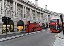 Busses Drive Up And Down London's Regent Street