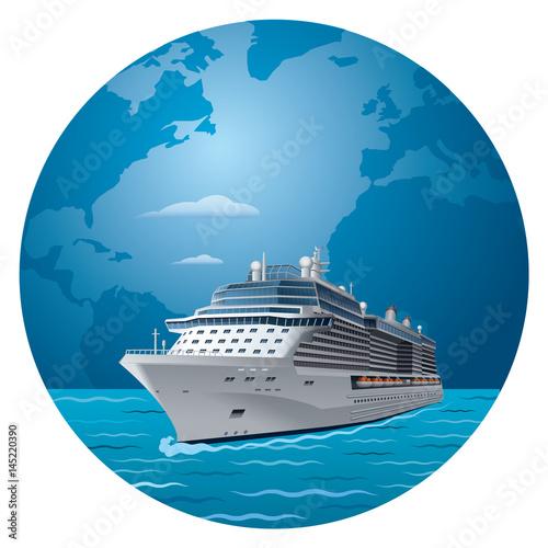 Photo illustration of cruise ship round the world travel