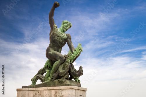 Statue of dragon slayer at the Citadel on Gellert hill in Budapest Wallpaper Mural