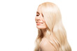 Leinwanddruck Bild - Portrait Of Beautiful Young Blond Woman With Long Wavy Hair. Isolated.