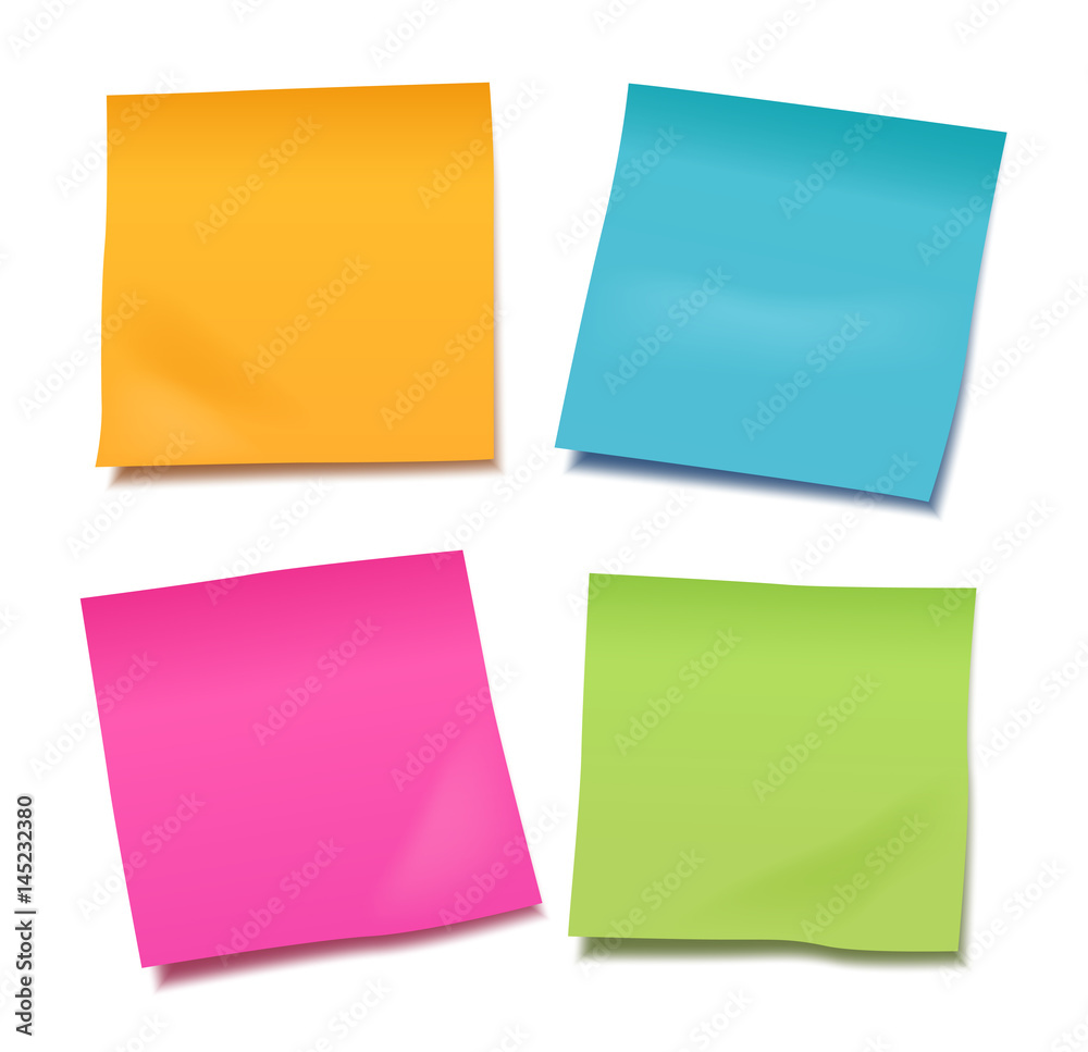 Fototapeta Set of four colorful vector blank post-it notes for your note or announcement isolated on white background