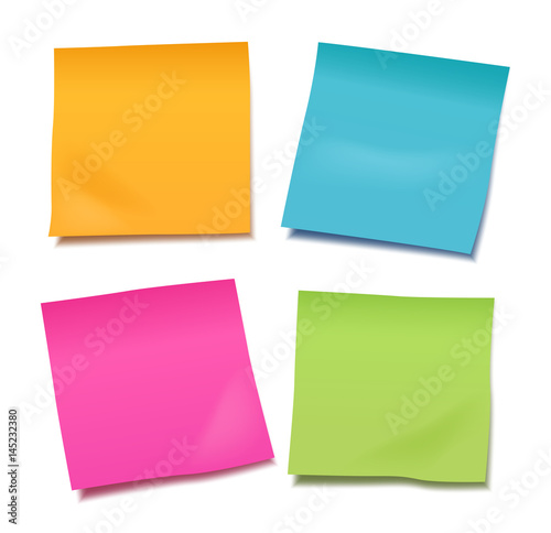 Fotomural  Set of four colorful vector blank post-it notes for your note or announcement is
