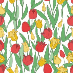 Fototapetatulips seamless pattern, red & yellow