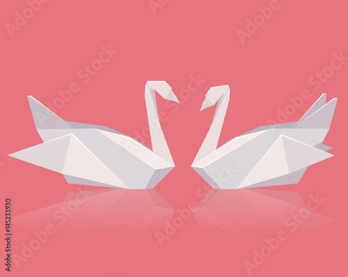 Vector Illustration Of A Pair Of Paper Origami Swans Love Vector
