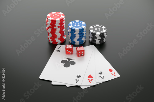 Poker chips, Playing cards and Casino dice on table плакат