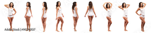 Fototapeta health and beauty concept - beautiful brunette woman in white cotton underwear collage obraz na płótnie