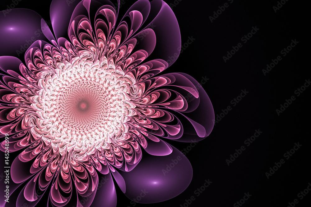 Fractal fantastic purple flower. Abstract background.