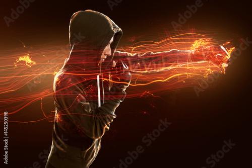 Deurstickers Vechtsport Frau beim Kampfsporttraining