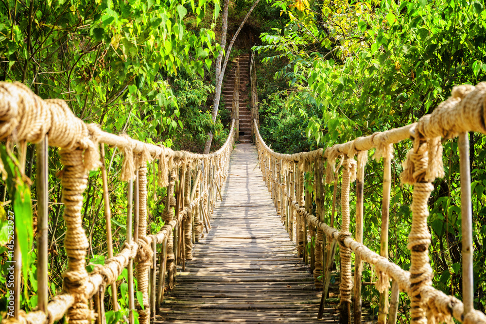 Fototapety, obrazy: Amazing simple suspension bridge over gorge