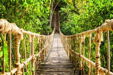 Panel Szklany Podświetlane Do pokoju chłopca Amazing simple suspension bridge over gorge
