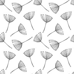 Fototapeta Optyczne powiększenie Abstract vector seamless pattern with stylized floral elements similar to dill or fennel flowers. Black on white background florals.