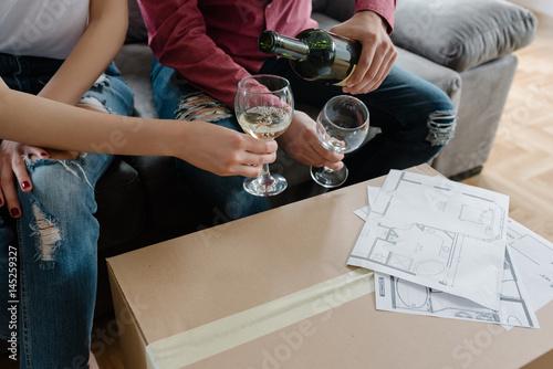 Fototapeta Toasting in their renovated house obraz na płótnie