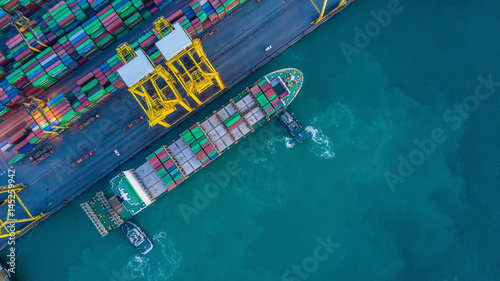 Valokuva  Aerial view from drone, container ship in import export and business logistic by