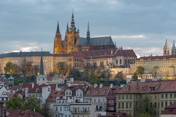 Spring sunset in Prague, view of castle and St. Vitus Cathedral