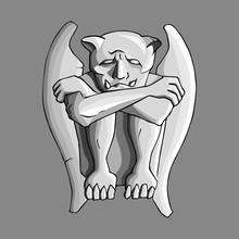 Sad Gargoyle Stone Sculpture Hand Drawn Vector Illustration.
