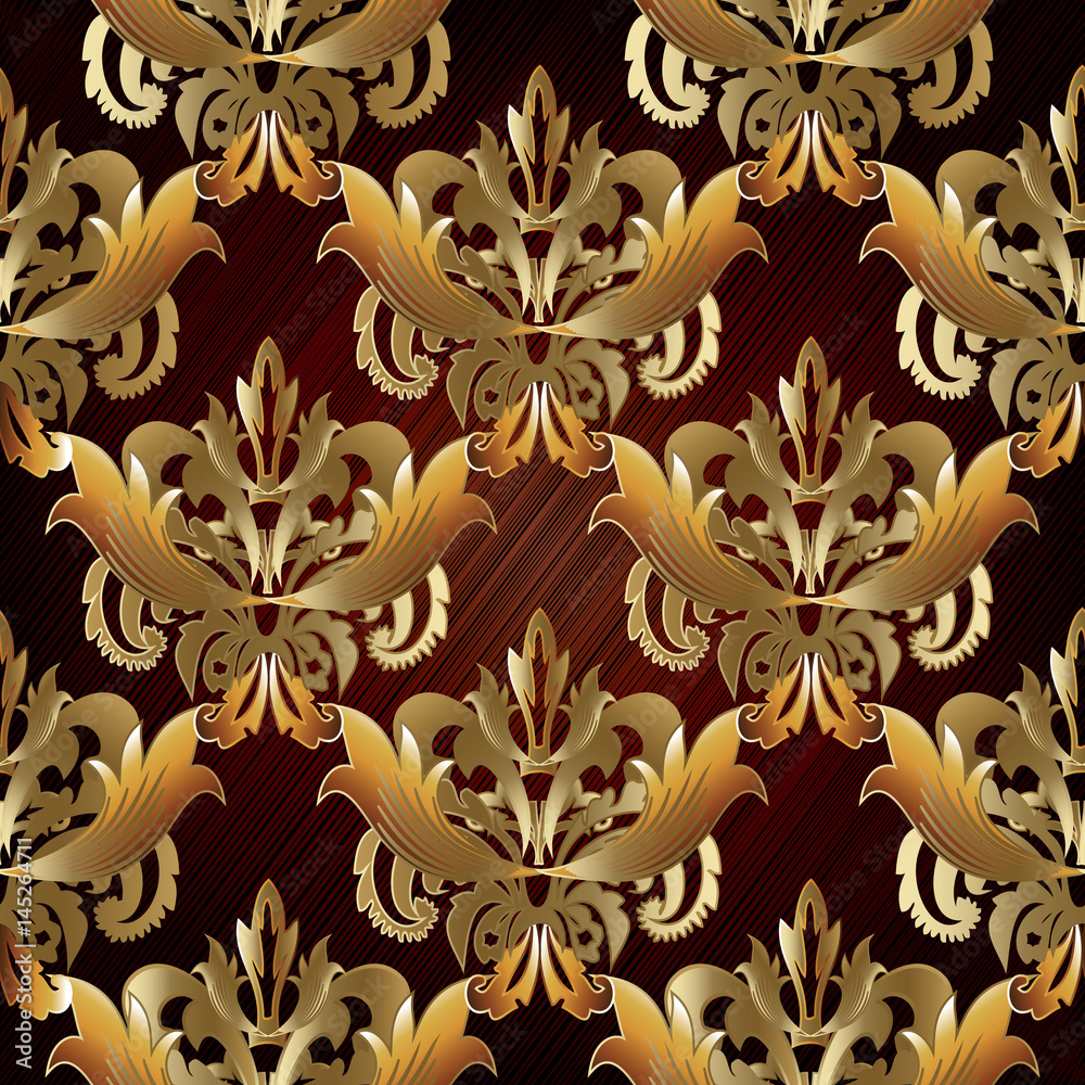 Damask floral  seamless pattern background wallpaper illustration with vintage antique gold 3d flowers, leaves and  ornaments in Baroque style. Vector  surface  texture with  shadows and highlights.