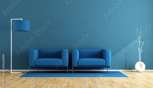 Fotografie, Obraz  Blue living room