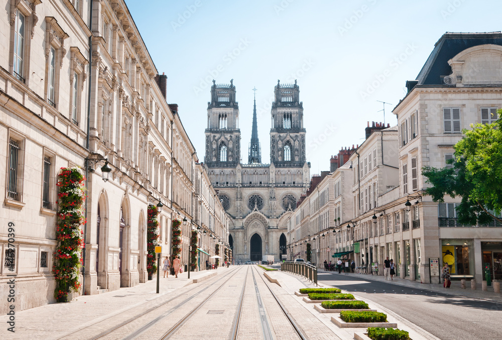 Fototapety, obrazy: Street with Cathedral in Orleans, France