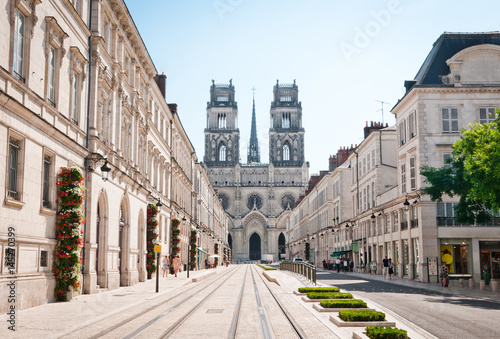 Street with Cathedral in Orleans, France