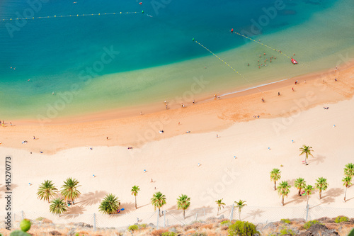 Photo sur Aluminium Iles Canaries aerial birdeye view of Las Teresitas beach, Tenerife island