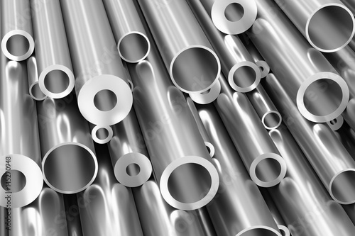 Poster Metal Many different steel pipes closeup, industrial background