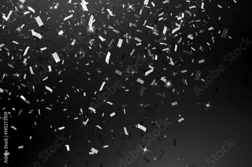 Falling Shiny Glitter silver Confetti isolated on black background Canvas Print