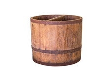 Wooden Buckets,isolated On Whi...