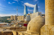 Leinwanddruck Bild - View from old town. Panoramic view of Baku - the capital of Azerbaijan located by the Caspian See shore.
