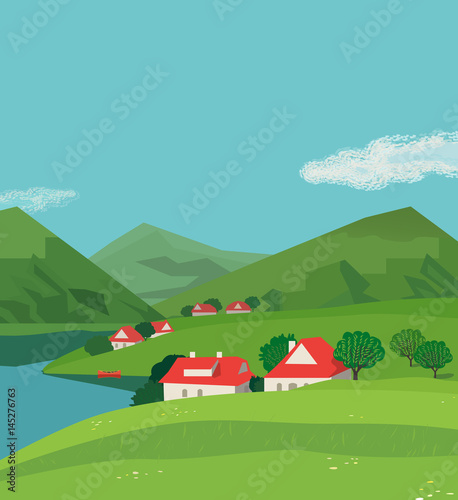 Spoed Foto op Canvas Turkoois Green mountains landscape poster. Freehand drawn cartoon outdoors style. Alps rural community houses on valley. Mountain lake view, hills. Vector countryside scene background. Summer season nature