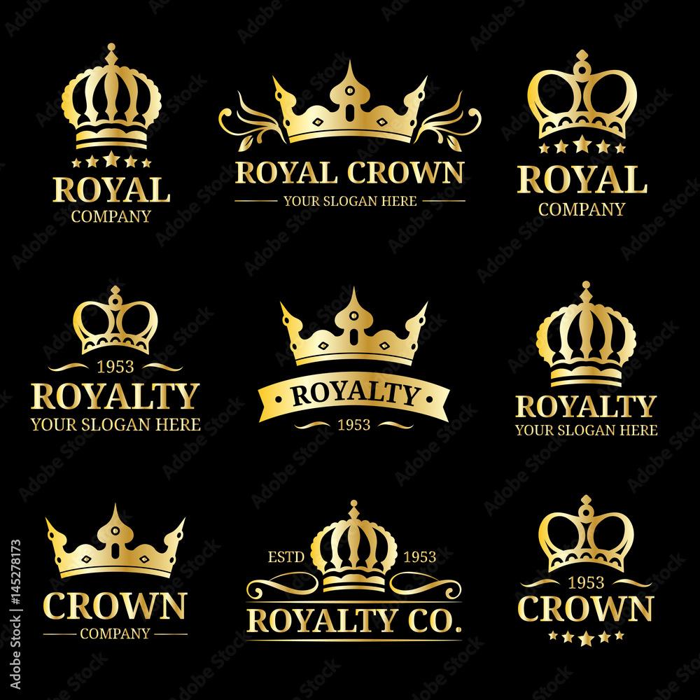 Fototapeta Vector crown logos set. Luxury corona monograms design. Diadem icons illustrations. Used for hotel, restaurant card etc.