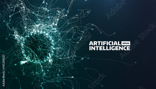 Obraz artificial intelligence vector illustration. Turbulence flow trail. Futuristic science background. Organic structure - fototapety do salonu