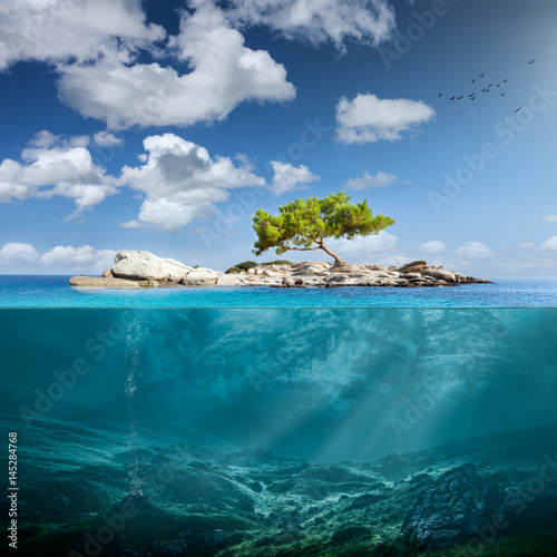 Recess Fitting Island Idyllic small island with lone tree in the ocean