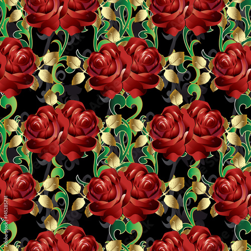 Floral Red Roses Seamless Pattern Black Background