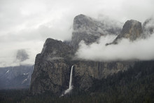Majestic View Of Bridalveil Fall At Yosemite National Park From Wawona Tunnel