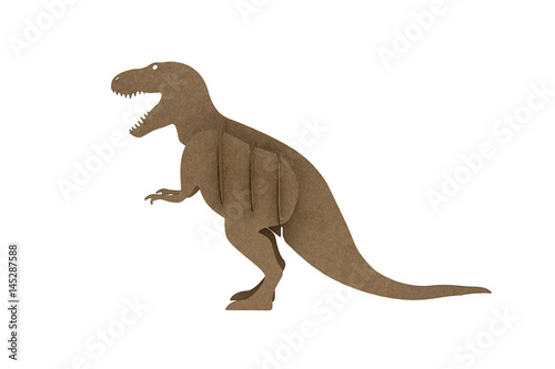 Photo  tyrannosaur Rex made out of cardboard