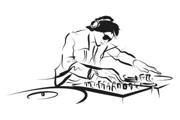Fototapeta na wymiar Vector line sketch DJ