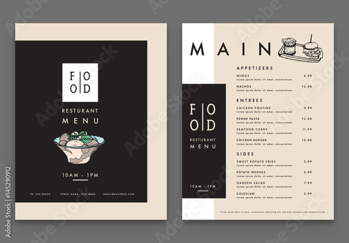 four page modern menu  buy this stock template and explore