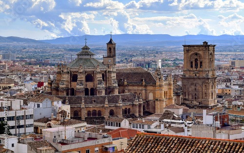 View of Granada Cathedral over the rooftops of Granada, Andalusia, Spain