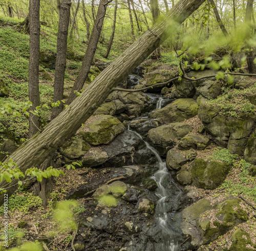 Waterfall near Moravany village in spring day Poster
