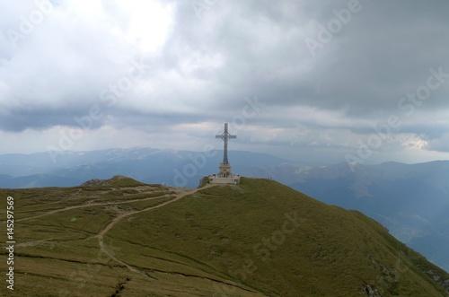 Aluminium Prints Brazil Heroes Cross Monument in the Carpathian mountains
