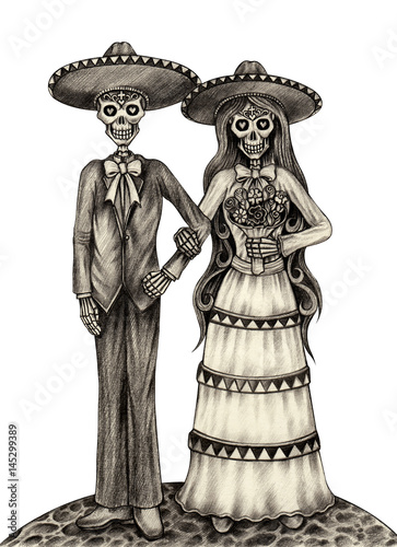 d8f55a15a Art wedding skull day of the dead.Hand pencil drawing on paper - Buy ...