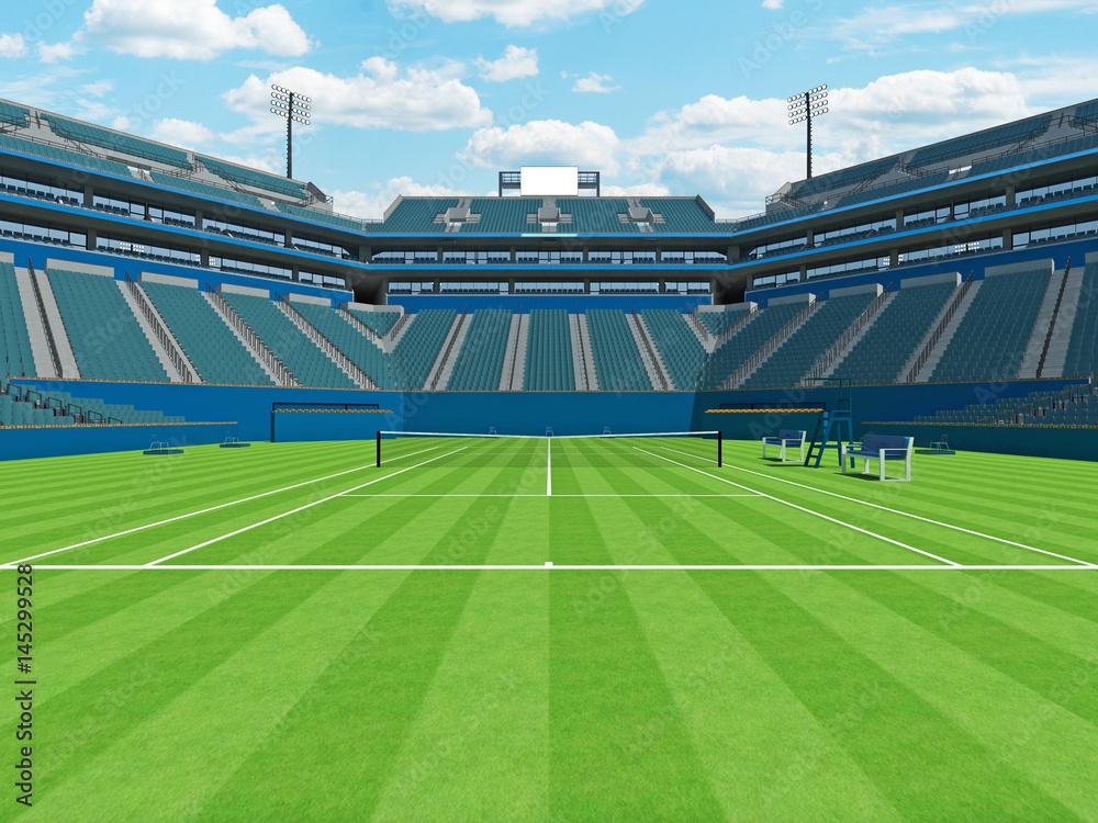 Poster 3d Render Of Beautiful Large Modern Tennis Grass