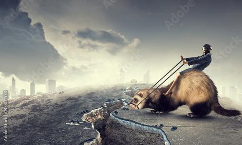 Fotografering  Woman ride ferret . Mixed media
