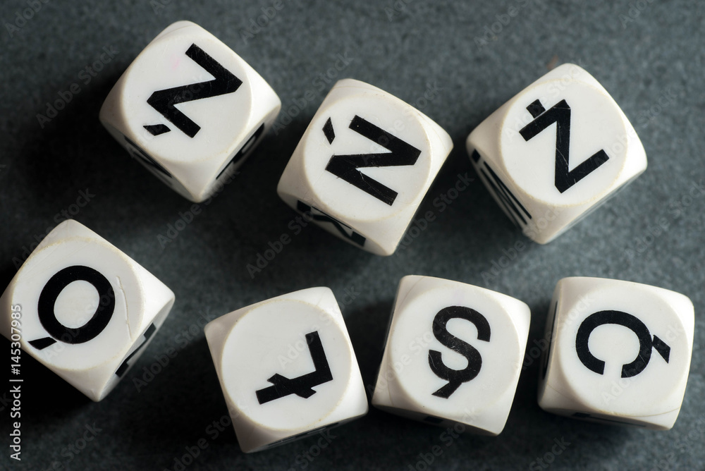 Fototapety, obrazy: letters with Polish diacritic marks  on toy cubes