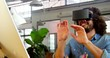 Business executive using a virtual reality headset